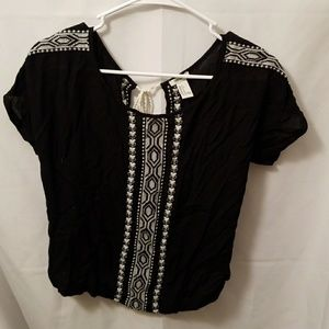 F21 Black embroidered Top